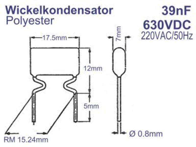 Wickelkondensator 39nF 630VDC 220VAC/50Hz 7x12x17.5mm RM=15.24mm ...
