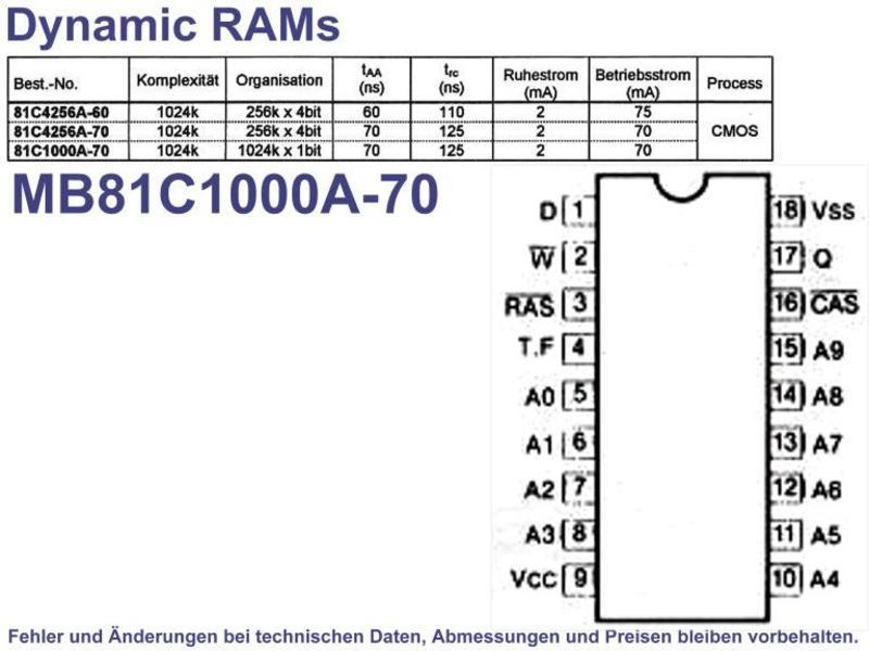 1024k x 1bit 70ns RAM PDIP-18 , Grieder Elektronik Bauteile AG