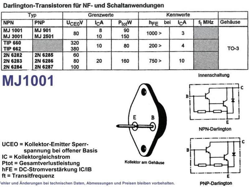 NPN Darlington Transistor 8A 80V Type MJ1001, Grieder Elektronik