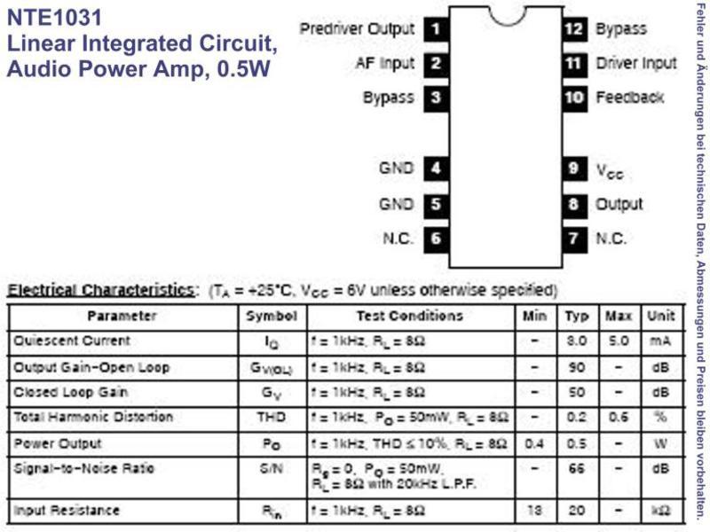 NTE1031 IC Linear Audio Power Amplifier 0 5W, Grieder
