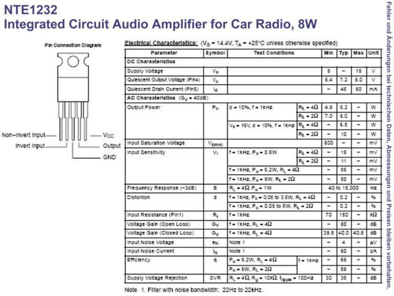 NTE1232 IC Audio Amplifier for Car Radio 8W TO-220, Grieder