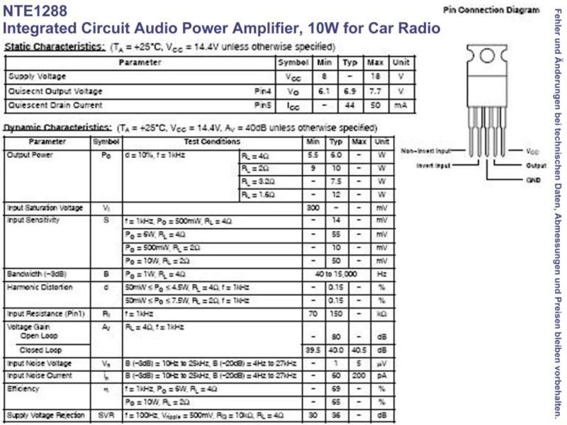 NTE1288 IC Audio Power Amplifier 10W for Car Radio TO-220