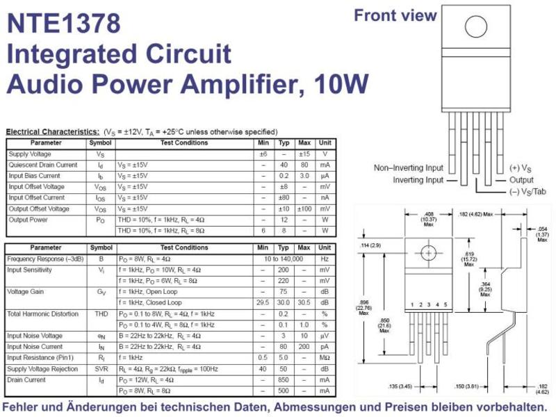 NTE1378 IC Audio Power Amplifier 10W 5-Pin TO-220, Grieder