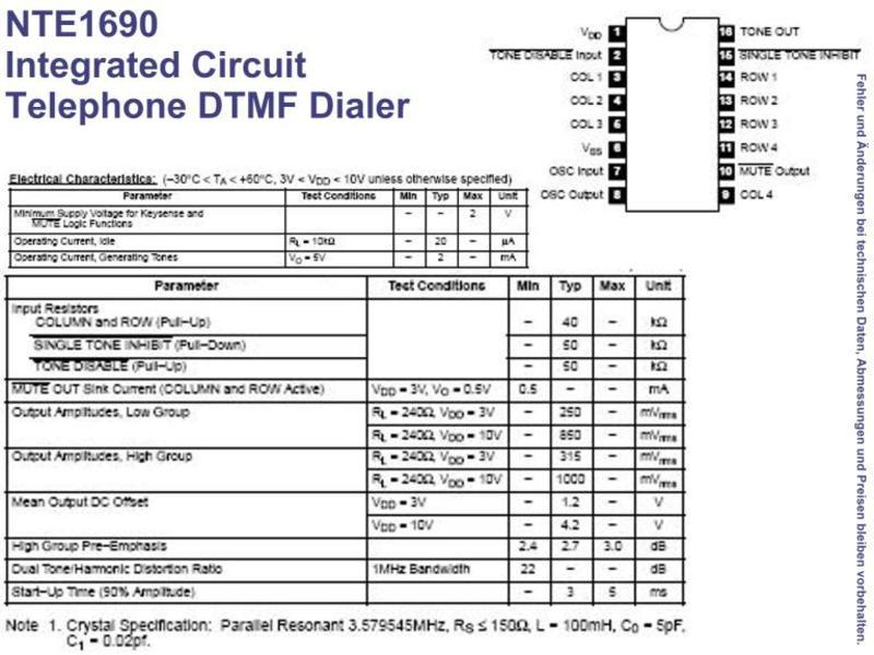 NTE1690 IC Telephone DTMF Dialer DIP-16, Grieder Elektronik Bauteile AG