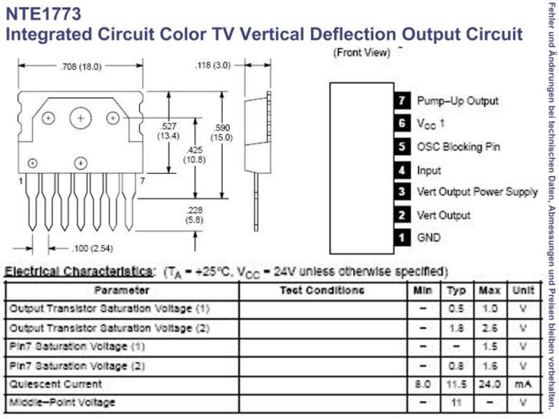 Swell Nte1773 Ic Colour Tv Vertical Deflection Output Circuit Sip 7 Wiring Cloud Tobiqorsaluggs Outletorg