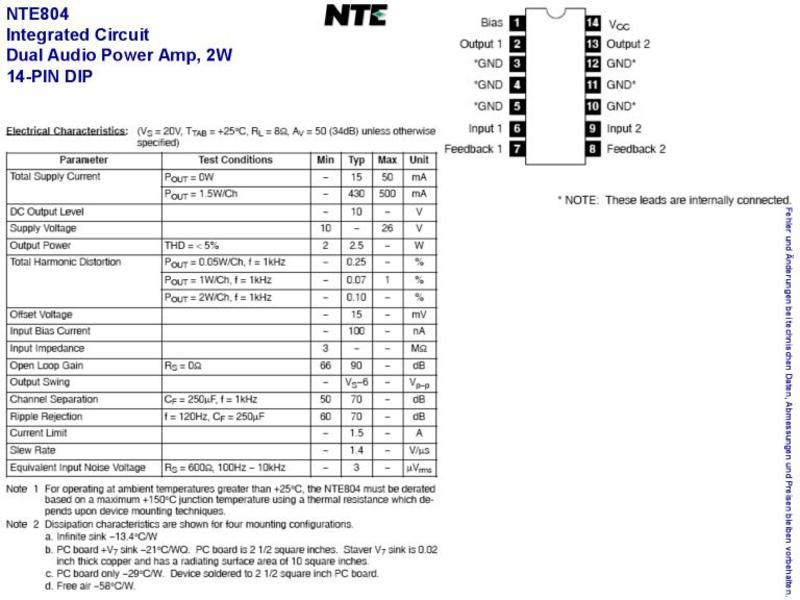 NTE804 IC-2W DUAL AUDIO POWER AMP,14-PIN DIP , Grieder Elektronik