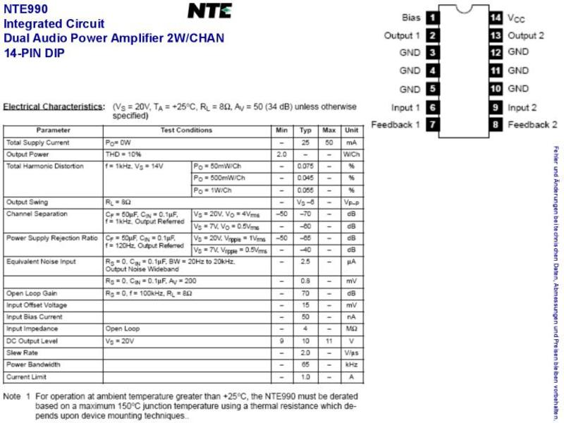 NTE990 IC-DUAL AUDIO PO,2W/CHAN,14-PIN DIP , Grieder Elektronik