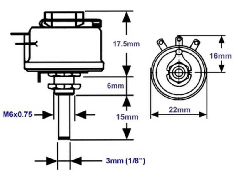 Draht-Potentiometer 75-Ohm 3mm-Achse 12.5W 10%, Grieder Elektronik ...