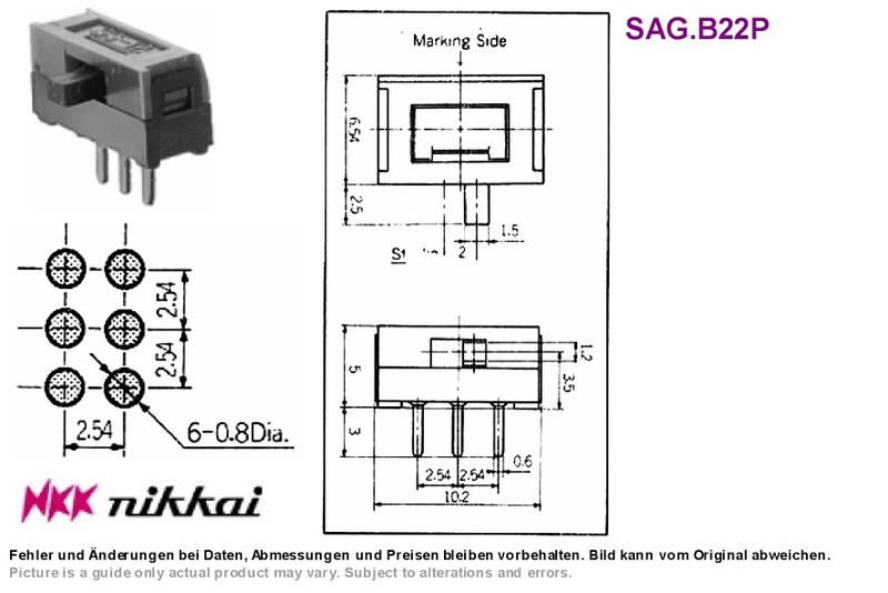 DPDT Slide Switch On-On Side-Actuated Nikkai SS22SDH2, Grieder ...