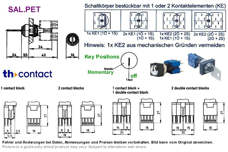 Modular Key Switch On-Momentary Kaba micro-E 2 Pos ... on