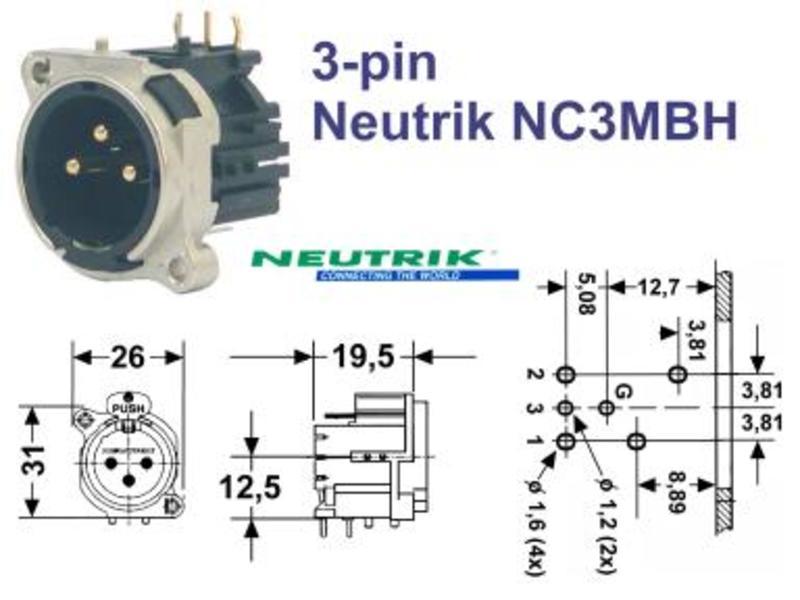 XLR-Einbaustecker 3-pol horizontal Serie B NEUTRIK NC3MBH, Grieder on