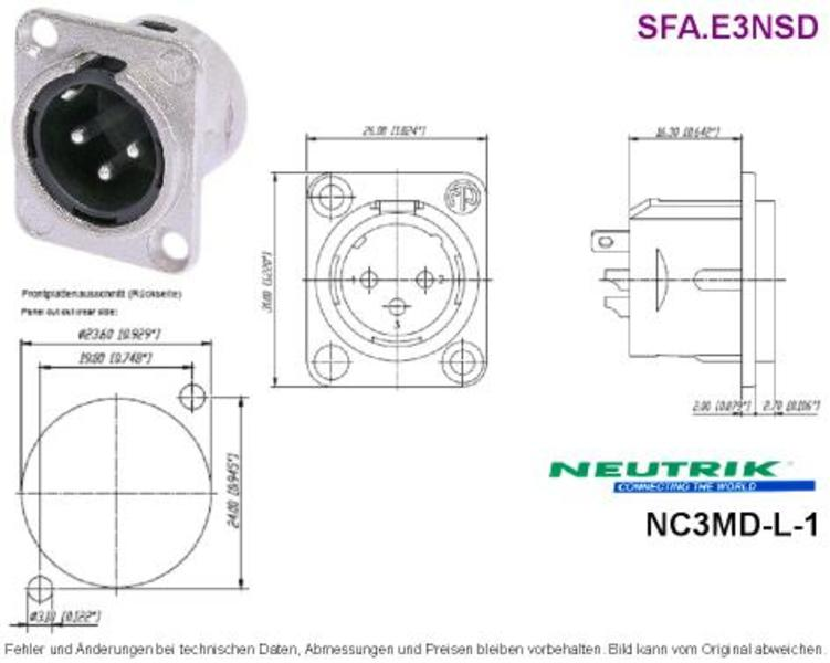 3-Pole Male XLR Receptacle Solder DL-Series NEUTRIK NC3MD-L-1 ... on