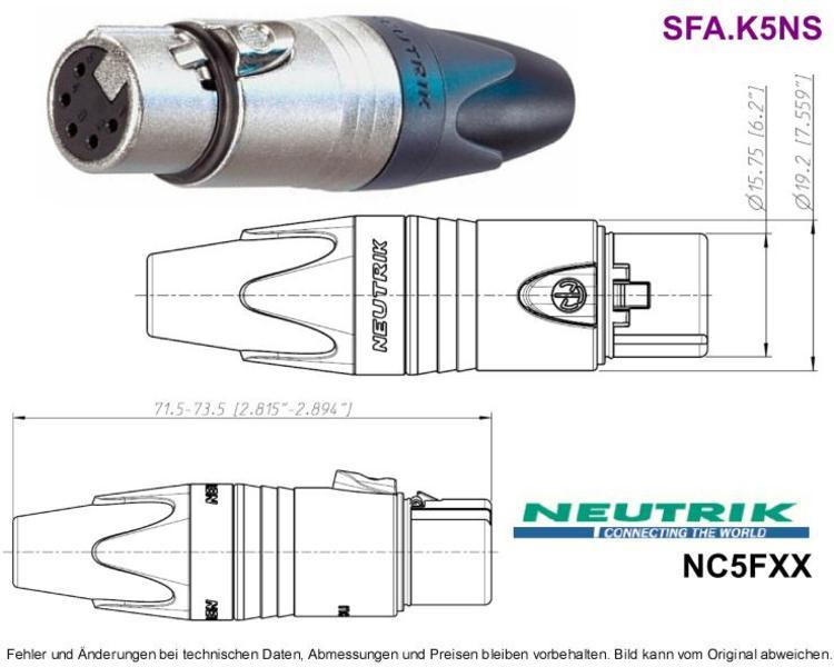 XLR-Kabelbuchse 5-pol 7.5A Nickel/Silber NEUTRIK NC5FX, Grieder ...
