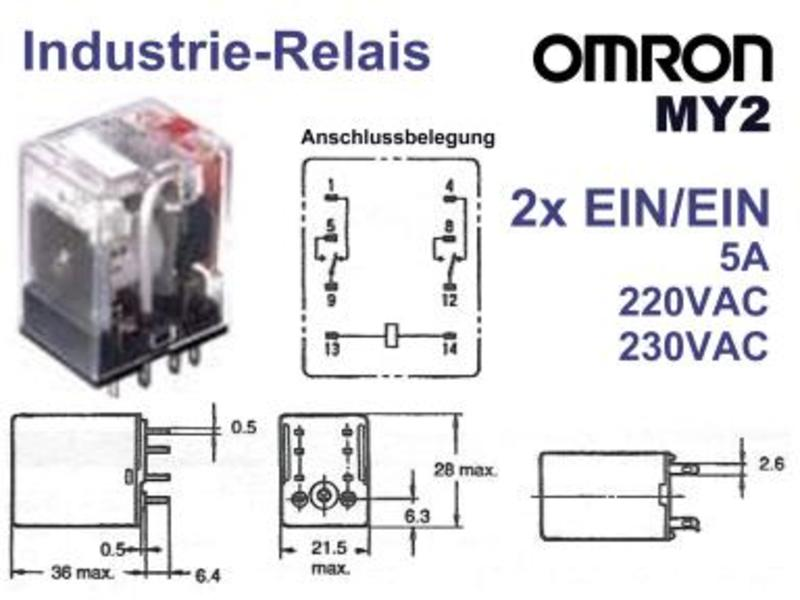 Relay 230VAC DPDT 250VAC 10A Finder 55.32.8.230.0040 or OMRON MY ...