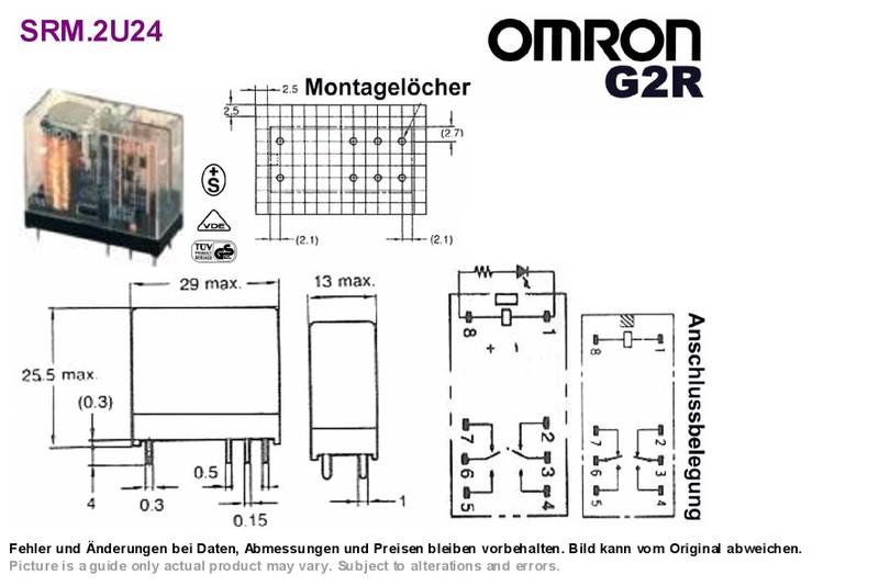 pcb relay 24vdc dpdt 250vac 5a general purpose omron g2r