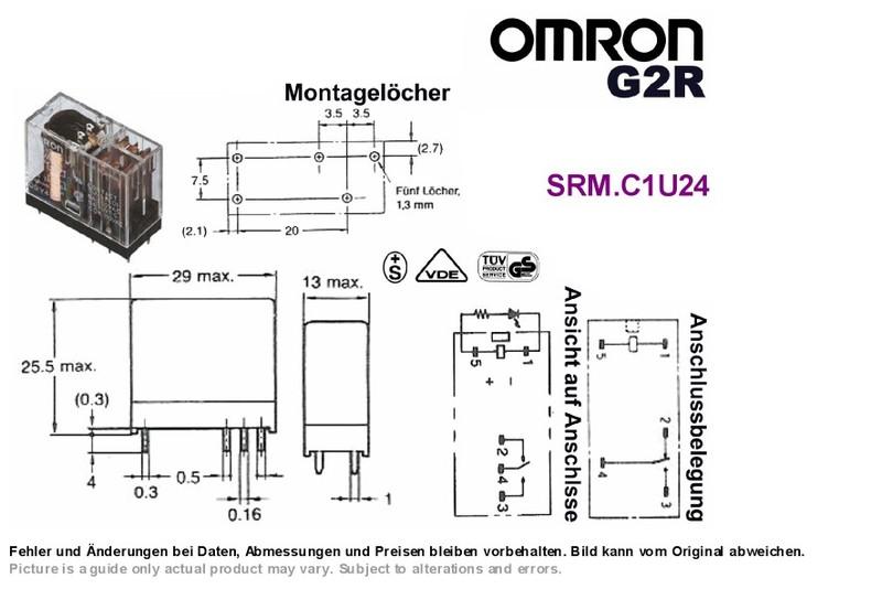 PCB Relay 24VDC SPDT 250VAC 10A PCB OMRON G2R-1 (Finder 40.31 ...