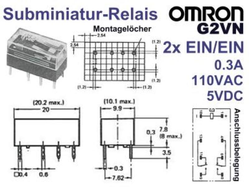 PCB Relay 5V DPDT 125VAC 0.5A OMRON G5V-2 or Finder 30.22, Grieder ...