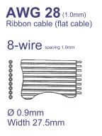 26-Conductor Flat Ribbon Cable AWG28 Pitch=1mm – Sold per Meter