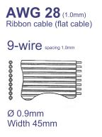 44-Conductor Flat Ribbon Cable AWG28 Pitch=1mm – Sold per Meter