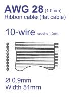 50-Conductor Flat Ribbon Cable AWG28 Pitch=1mm – Sold per Meter