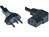 Mains Cable 3x1mm2 Black 50cm T12/IEC60320-C13 Angled