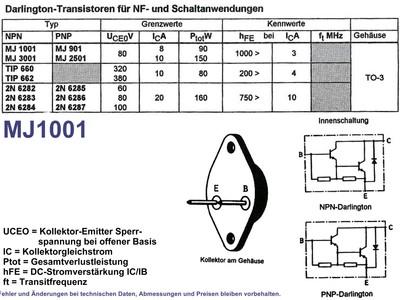 NPN Darlington Transistor 8A 80V Type MJ1001, Grieder