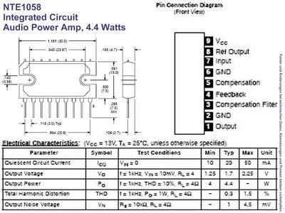 NTE1058 IC Audio Power Amplifier 4 4W SIP-9, Grieder