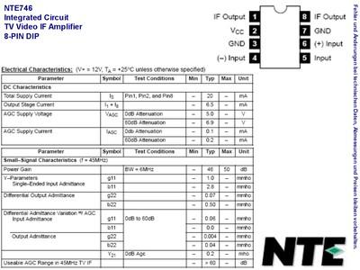 NTE746 IC-FM/TV SOUND IF,8-PIN DIP , Grieder Elektronik Bauteile AG