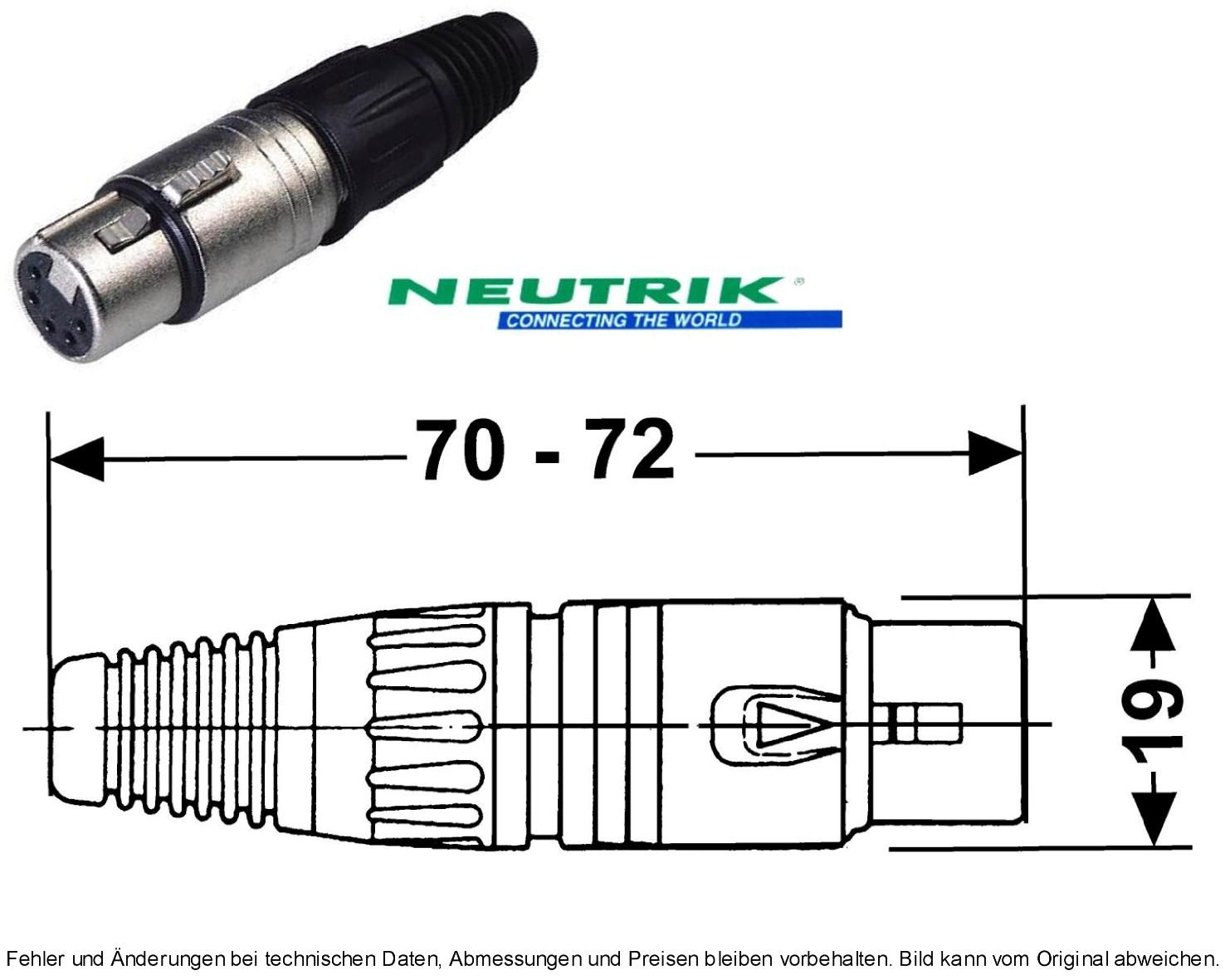 XLR-Kabelbuchse 4-pol 10A Nickel/Silber NEUTRIK NC4FX, Grieder ...